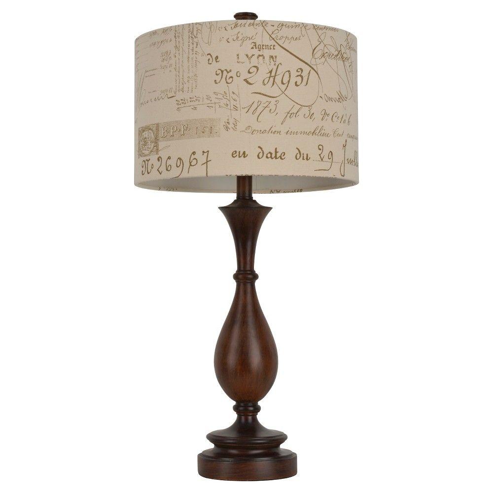 J hunt wood and script table lamp brown tan 29 25