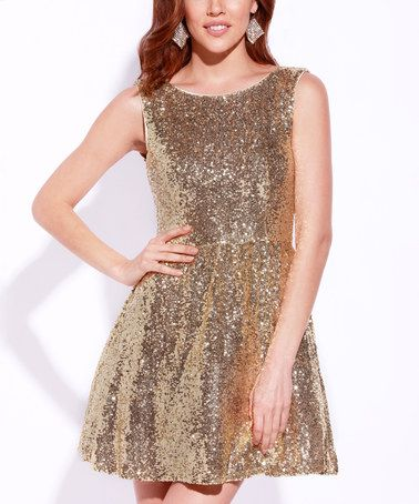 38421fb206e4 Look at this #zulilyfind! Gold Sequin Fit | Holiday party dresses ...