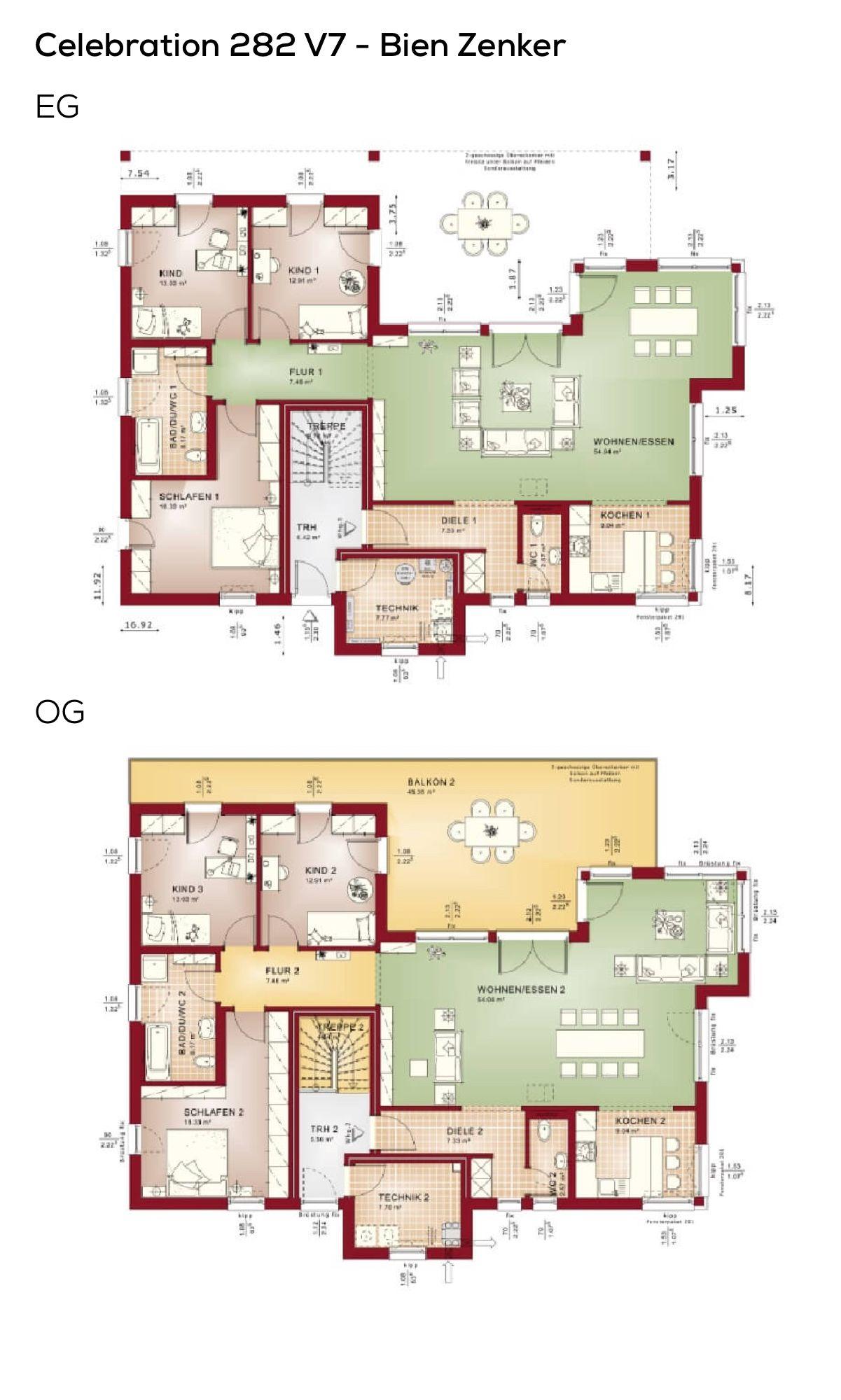 Zweifamilienhaus Grundriss Haus mit Einliegerwohnung und Flachdach ...