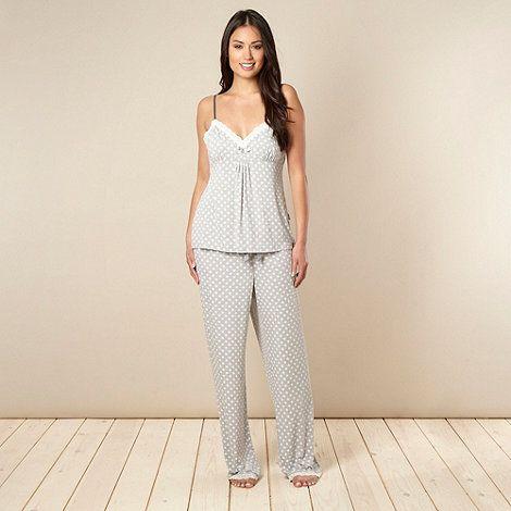 J by Jasper Conran Designer grey floral jersey pyjama set- at ...