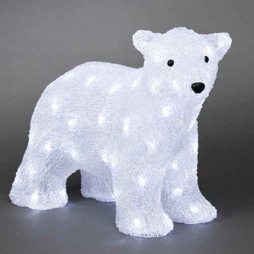 standing polar bear cub with 64 leds 41cm long christmas