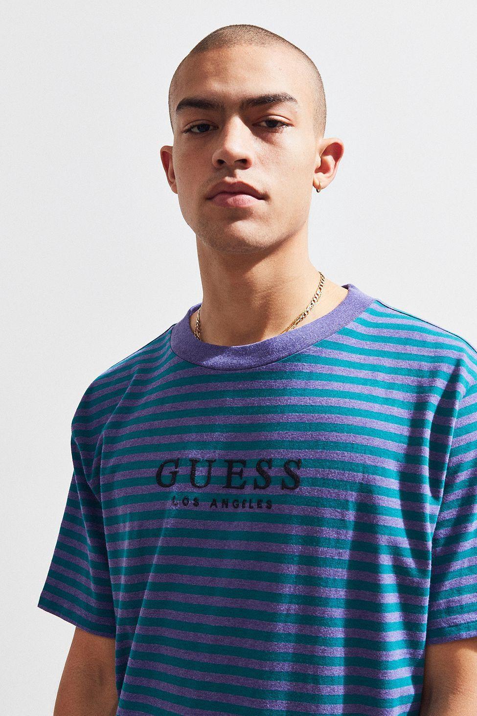 7d15c77c3c94 Urban Outfitters Guess Robertson Stripe Tee - Light Grey Xl ...