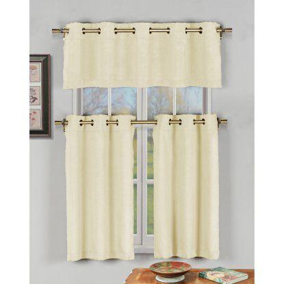 Duck River Agnes Faux Silk 3 Piece Grommet Kitchen Curtain Set
