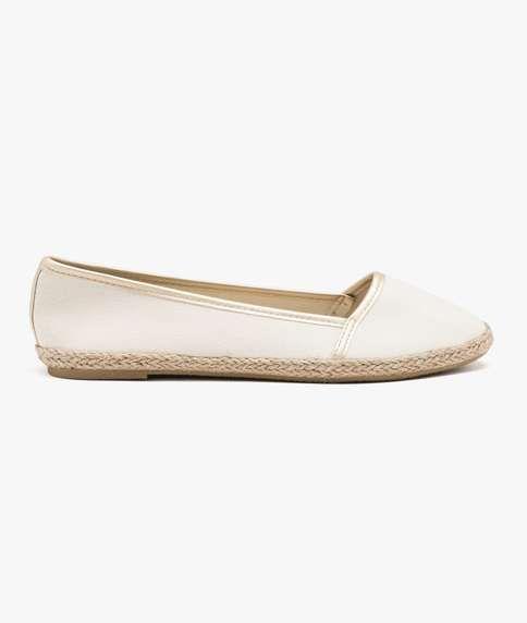 Ballerines mocassins chaussures pour femmes basses blanc brillant comme cuir LnEnEjNB