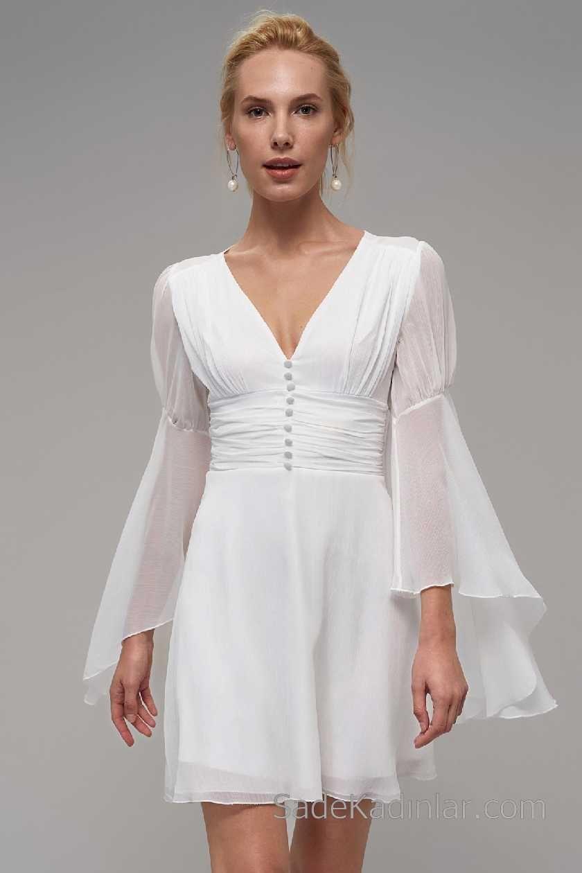 2018 Beyaz Elbise Modelleri V Yakali Onden Dugmeli Elbise Modelleri Elbise Resmi Elbise