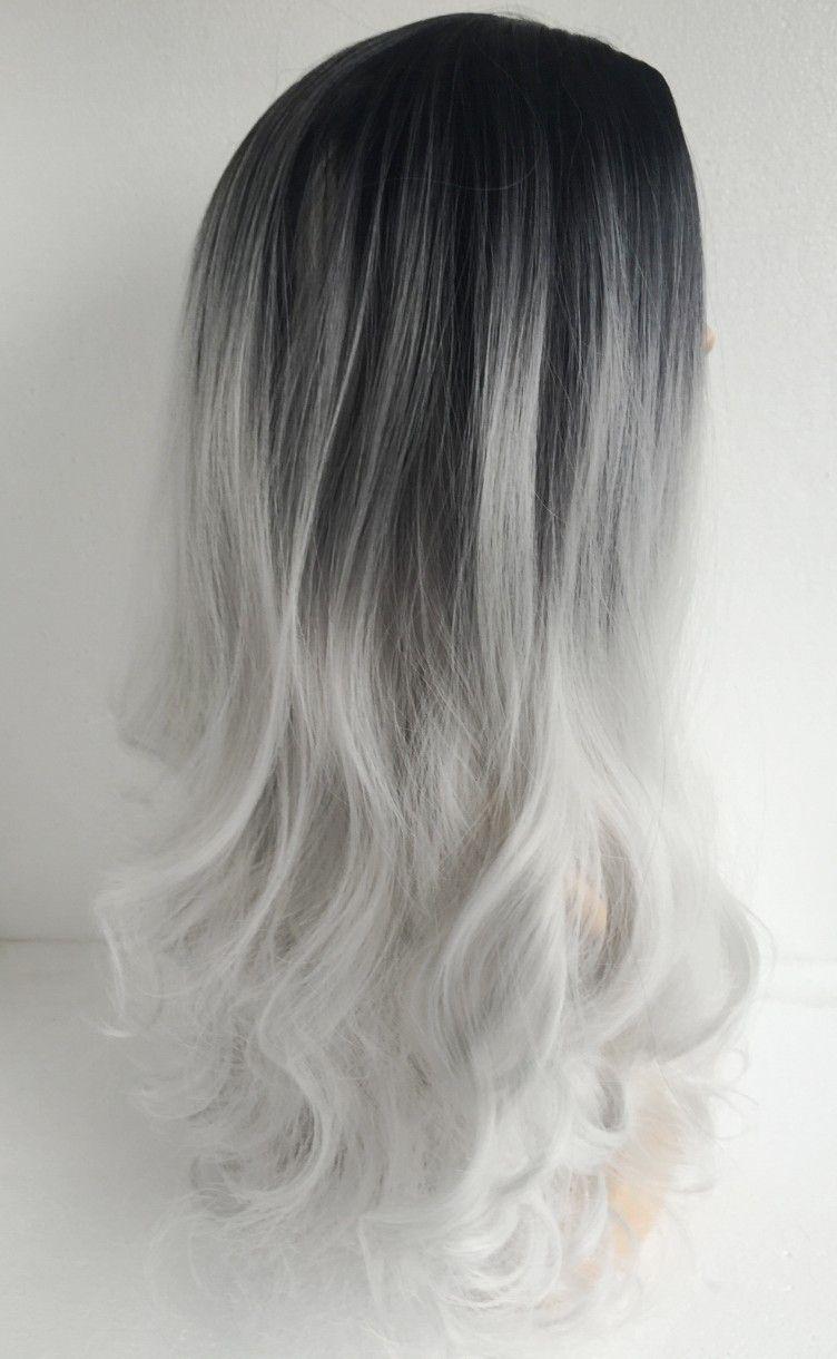 G01 A Alicdn Com Kf Htb1by8plpxxxxckxpxxq6xxfxxxs Long Curly Hair Ombre Wigs Two Tone Natural Black Hair Color For Black Hair Grey Ombre Hair White Ombre Hair