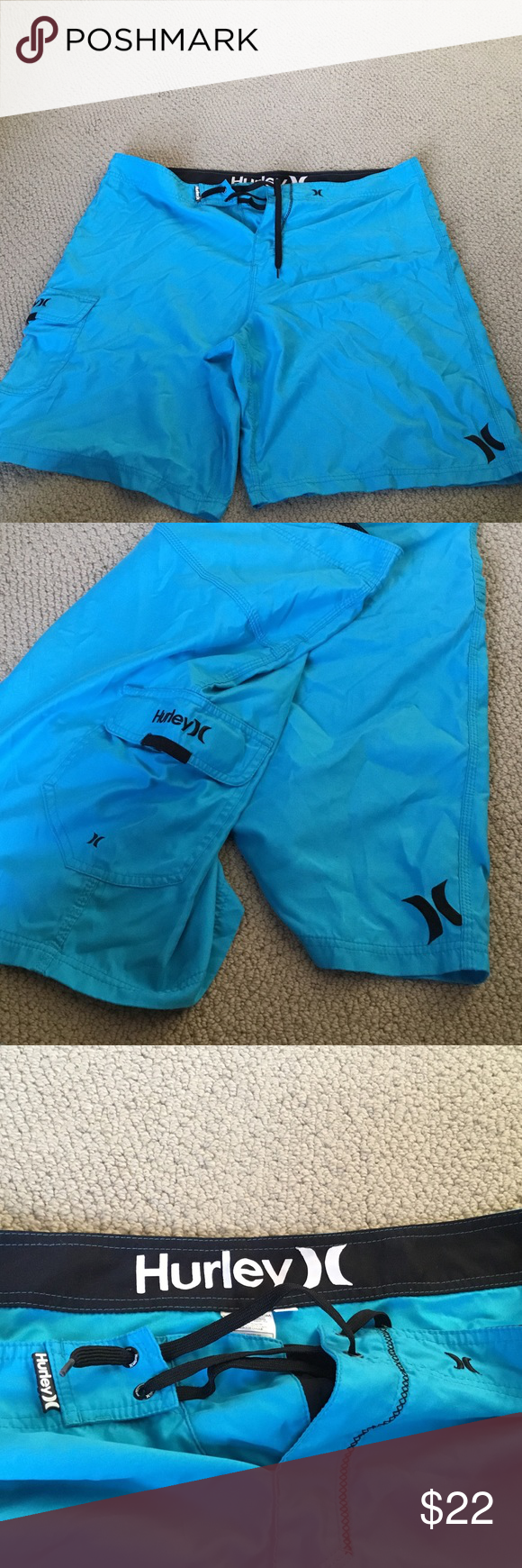 Like new blue Hurley board shorts These were worn once and are in perfect condition size 40 Hurley Swim Board Shorts
