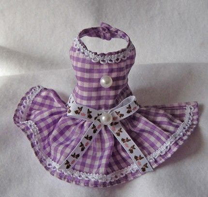 XXXS to XXS Purple Gingham Chihuahua Puppy Dog Pet Dress | Littledogfashion - Pets on ArtFire