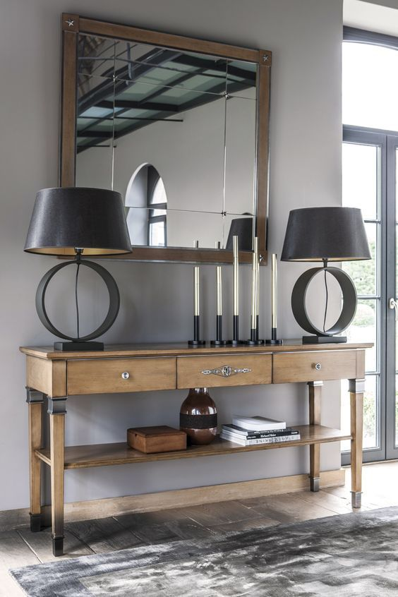 houten wandtafel | hal ideeën - interieur ideeën - spiegel hal ...