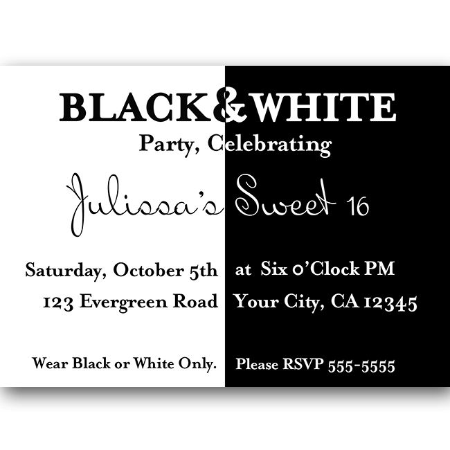 black and white party ball sweet 16 birthday invitation $ 10 00 - birthday party invitation informal letter