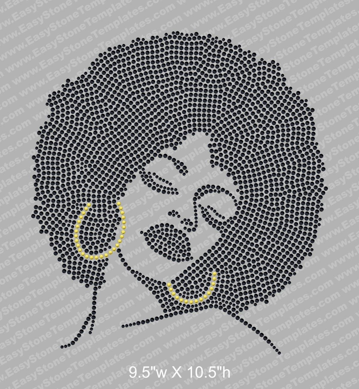 a2b1d4912885d Rhinestone Bling BlackBig Afro GirlT-Shirt by KustomKreativeImages ...