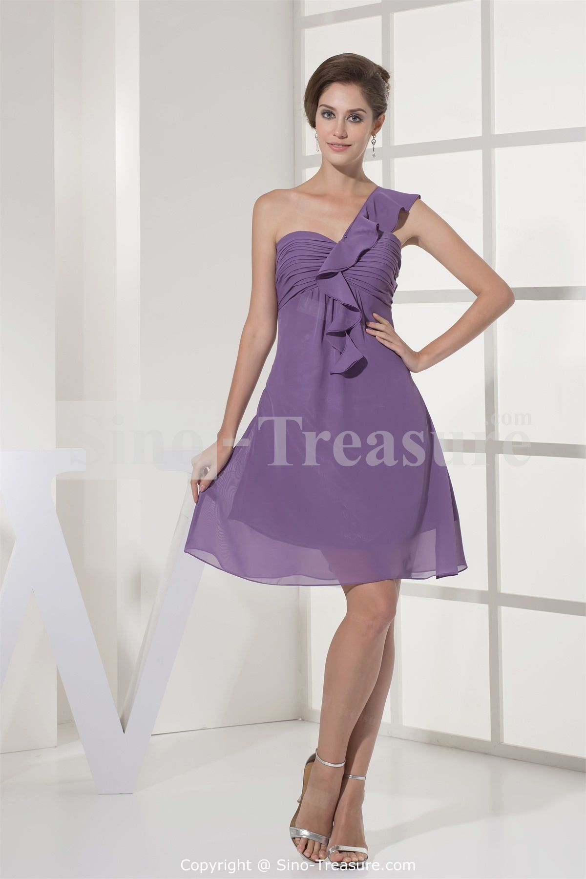 Bright purple ruched chiffon short bridesmaid dress with one bright purple ruched chiffon short bridesmaid dress with one shoulder 9899 free shipping ombrellifo Images