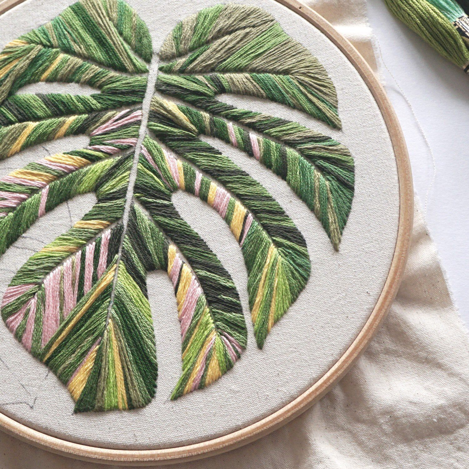 Embroidery Pattern - Monstera Leaves, PDF Embroidery Design, Beginner Embroidery Pattern, DIY Embroidery, Digital Embroidery Pattern