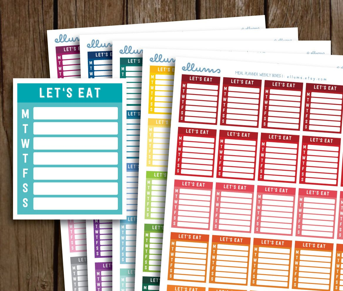 printable meal planning side bar stickers meal planner stickers meal side bars weekly