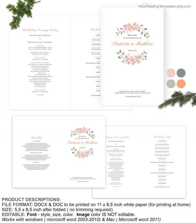 Peach Watercolor Floral Wedding Program Cover Template The Etsy   Microsoft  White Paper Template  Microsoft White Paper Template