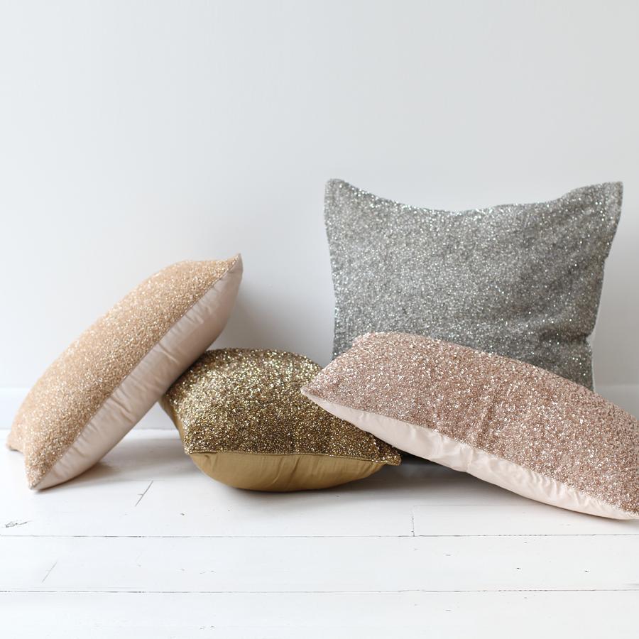 glittery throw pillows, Palladium $195