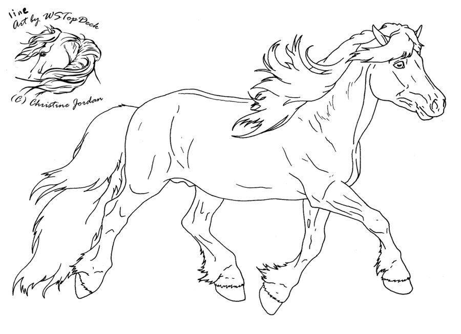 Haflinger Lineart For Da Use By Wstopdeck On Deviantart Horse Coloring Pages Flower Line Drawings Line Art Drawings