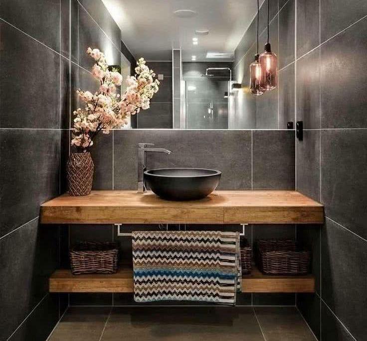 Bois vasque port serviette wc?   9 Design Tips for a Modern Bathroom Makeover - #Bathroom #Design #Makeover #modern #Tips #modernhousedesigninterior