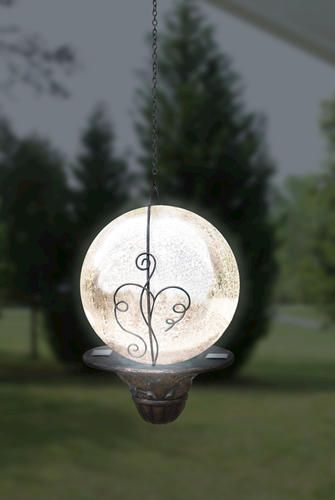 Beautiful evening garden accent - Solar Hanging Gazing Ball in Silver - would look like like the Moon ♥