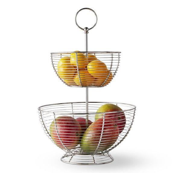 Wire Fruit Basket Kitchen Counter Organizers Williams Sonoma In 2020 Wire Fruit Basket Fruit Bowl Decor Fruit Basket