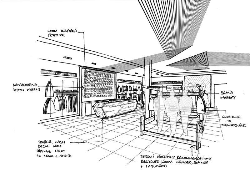 Tessuti concept sketch Architecture drawing, Interior