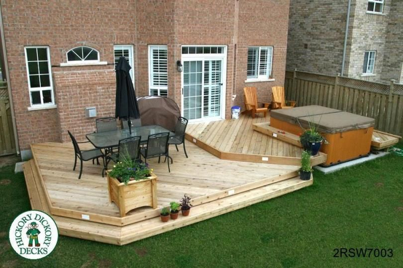 Hot tub deck designs this deck plan is for a large two for Garden decking ideas pinterest