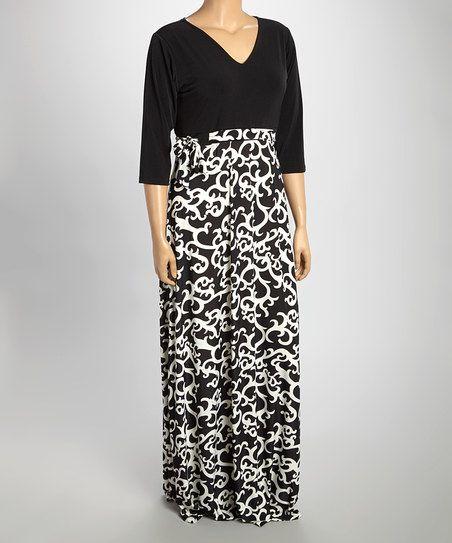 Black & Cream Art Nouveau Maxi Dress - Plus | zulily