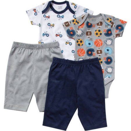 Walmart Baby Boy Clothes Mesmerizing Onesies Brand Newborn Baby Boy Layette Set 4Piece Size 0  3 Decorating Inspiration