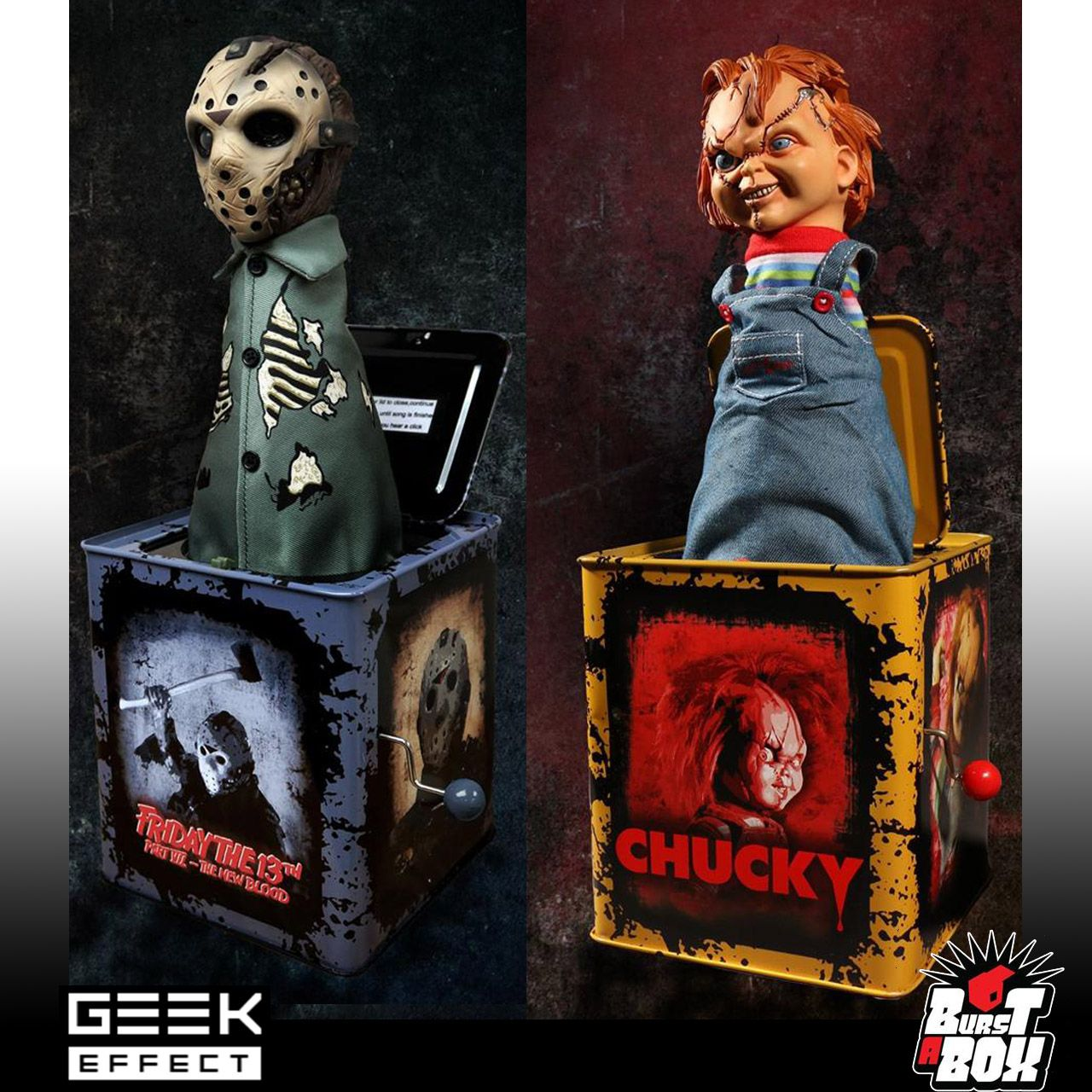"""Chucky Scarred Child/'s Play Burst-A-Box 14/"""" Action Figure Mezco Jack In The Box"""
