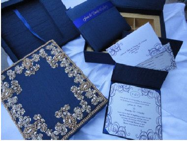Wedding Fancy Navy Fabric Invitation Box With Folio For Chocolated Underneath Hand