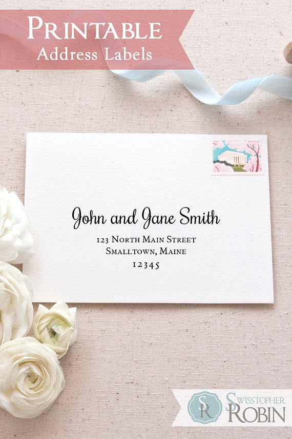 photo regarding Printable Labels for Wedding Invitations named Clic Calligraphy Printable Mailing Labels Envelope