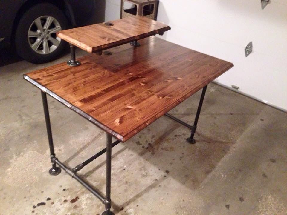 Industrial Computer Desk I Built For A Friend. Butcher Block Top And Inch  Black Pipe.