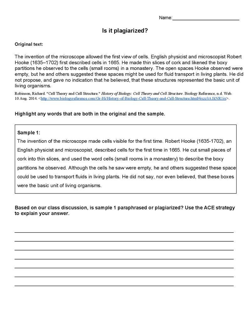small resolution of Avoiding Plagiarism Worksheet   Avoiding plagiarism