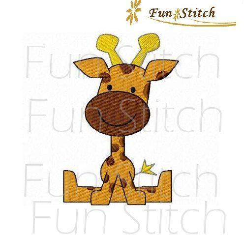 Giraffe machine embroidery design by FunStitch on Etsy, $2.50