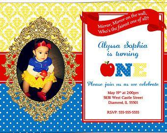 Snow White Birthday Invitation Snow White Birthday Princess Kid