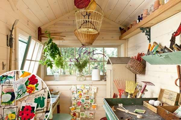 Vintage seed packs displayed on an old card rack and colorful vintage tools add a decorative touch to this hardworking garden shed. | Photo: Mark Lohman | thisoldhouse.com