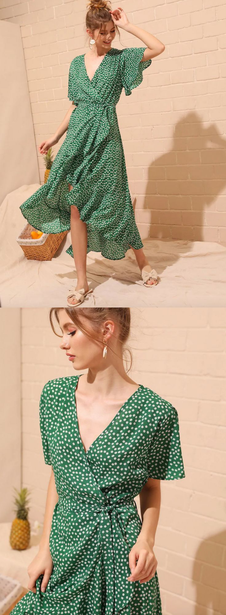 Green Ditsy Floral Print Wrap Dress,  #Ditsy #Dress #Floral #Green #Honeymoonclothes #Print #…