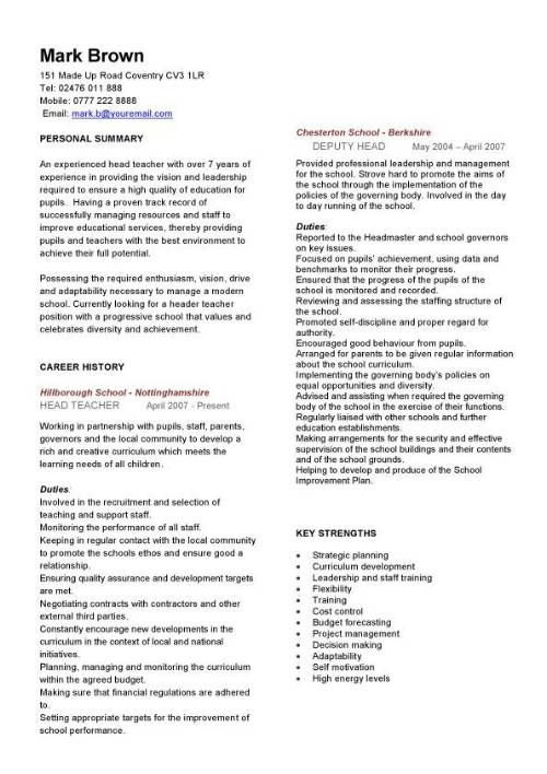 Teacher CV template, lessons, pupils, teaching job, school - assistant principal resume