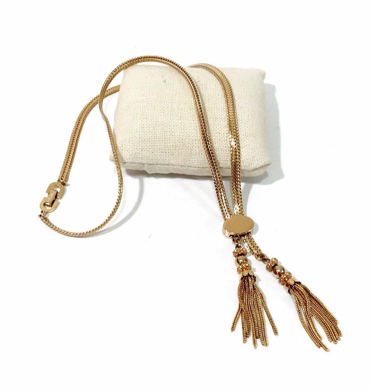 Retro Jewelry Circa 1960/'s Bolo Slide Necklace Vintage Tassel Lariat Necklace