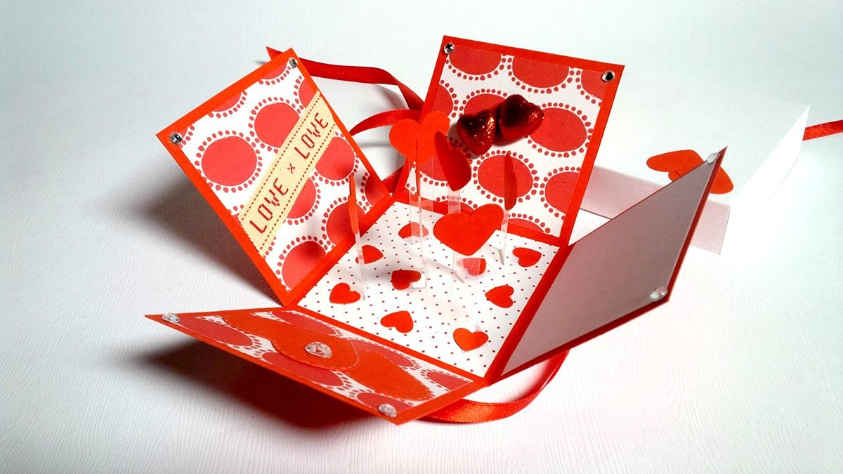 Exploding box with hanging hearts on Behance | Valentinstag ...