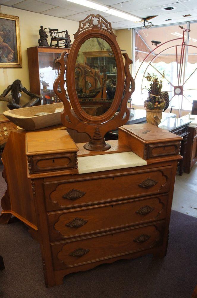Antique 19th C Oak Vanity Dresser Victorian Eastlake Marble Swivel