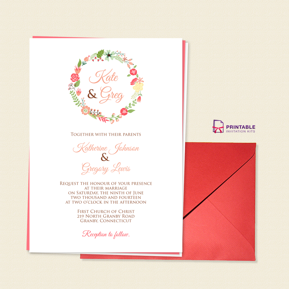 Free Pdf Download Floral Wreath Monogram Wedding Invite For
