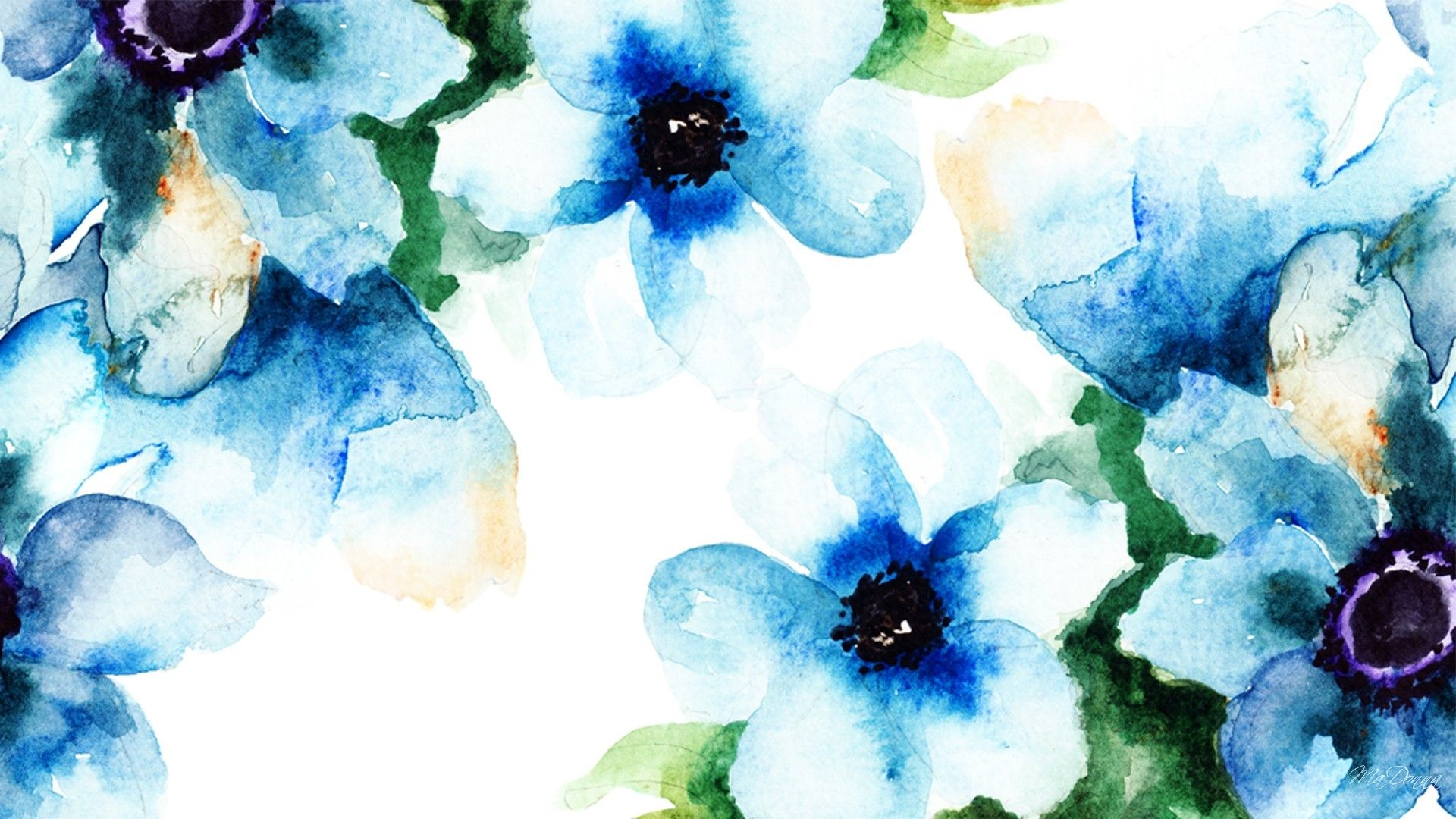 Flowers Brushed Blues Watercolor Summer Abstract Spring Floral