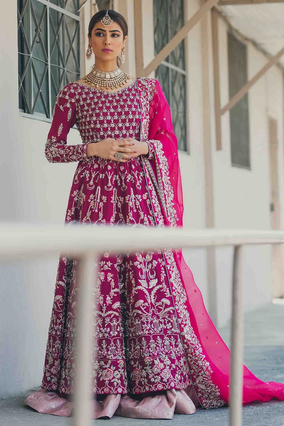 8aaa7999a1 ... Panache Haute Couture. This fuchsia color anarkali jacket style lehenga  is in Crepe Silk fabric with dabka, sequins