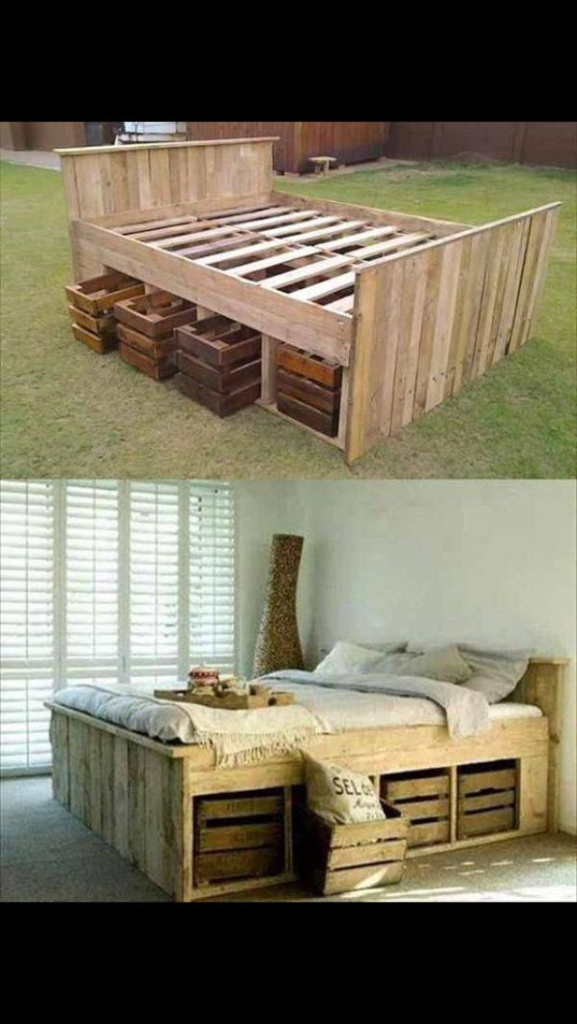 Pallet Bed With Old Crate Storage My Kind Of Bed