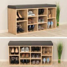 TECTAKE Meuble à Chaussures Banc 10 paires Etagères ajustables 103,5 cm x 48 cm x 30 cm Marron