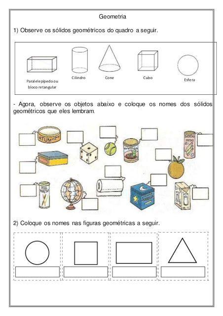 Rosearts Atividades Para Imprimir Geometria Solidos Geometricos