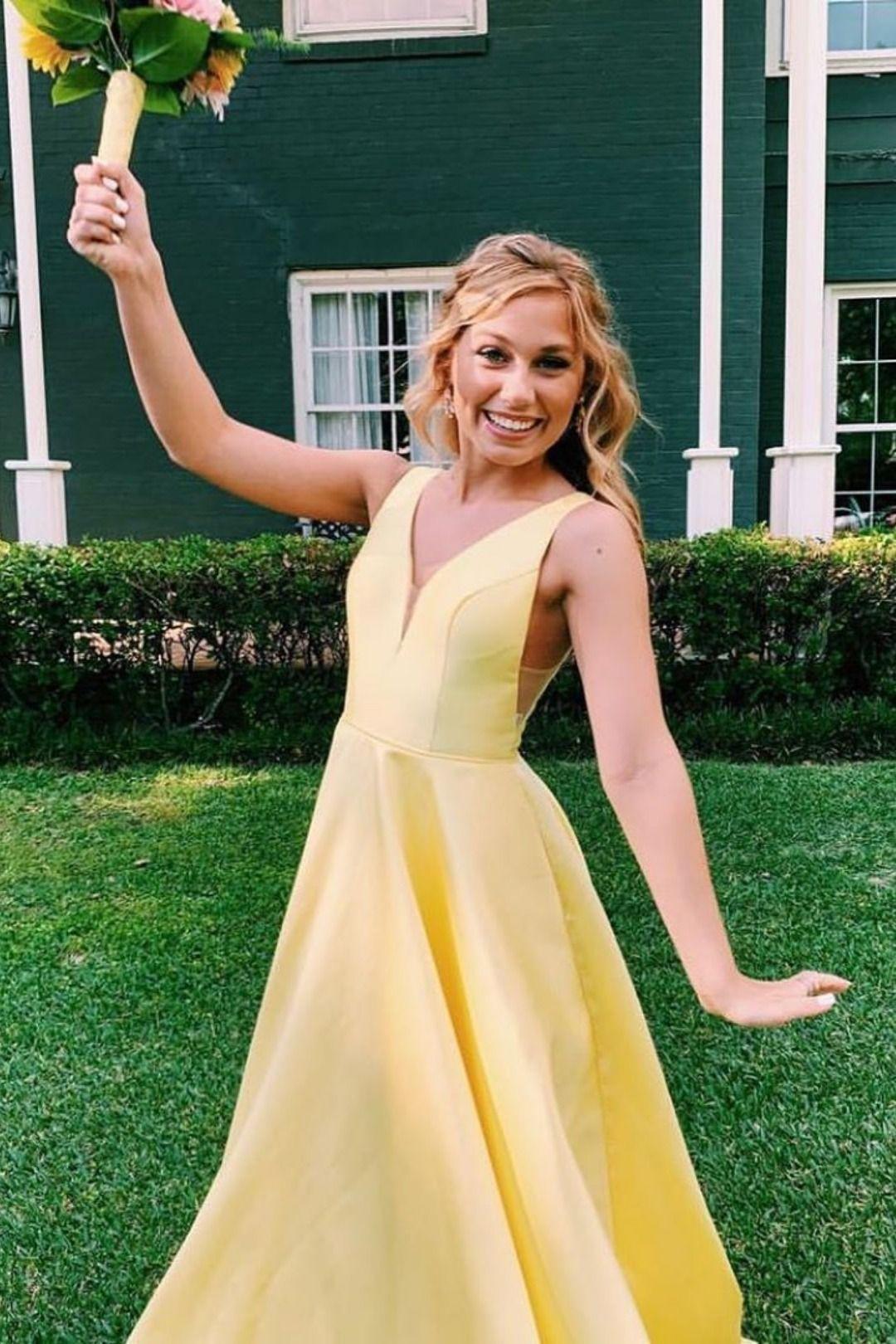Princess V-Neck Yellow Long Prom Dress | Cheap prom ...