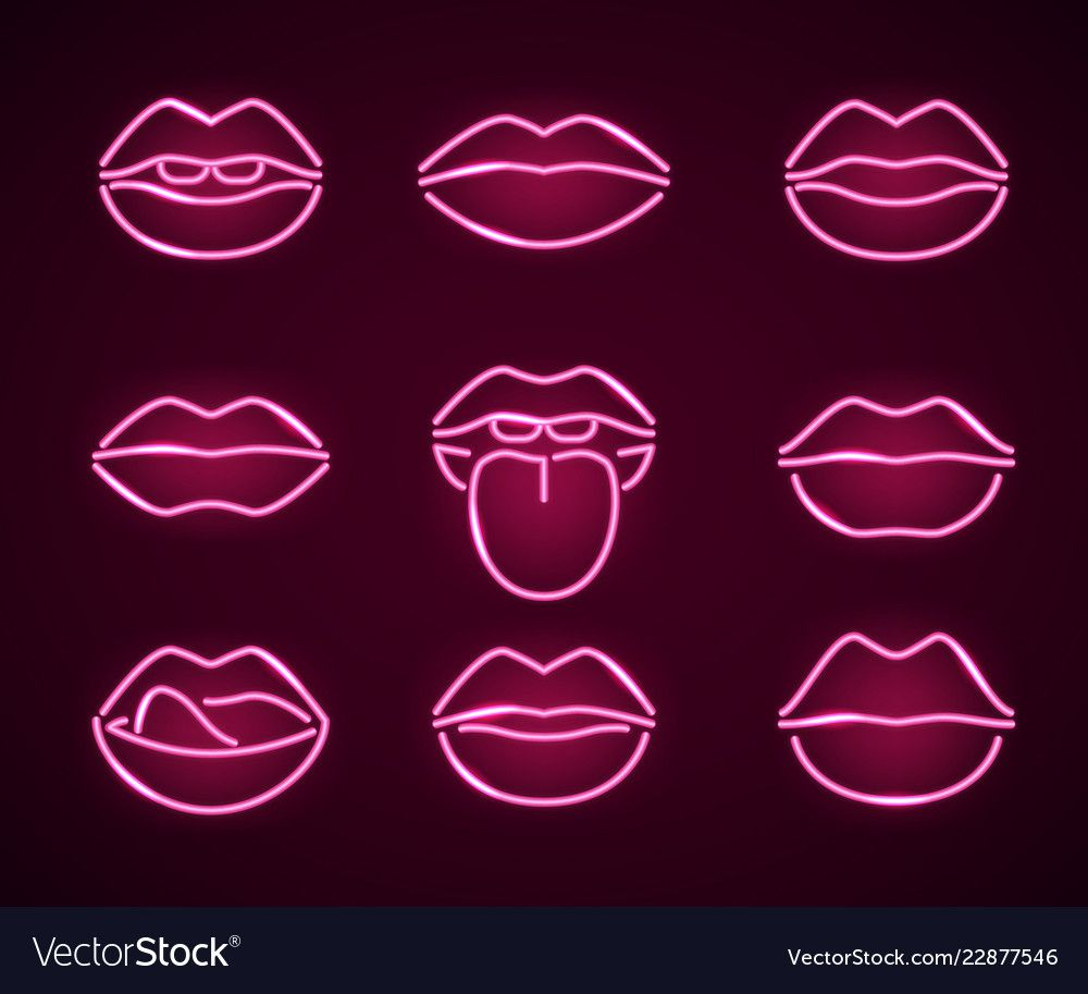 Lips neon signs thin line icon set vector image on