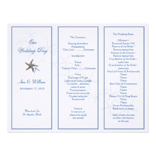Starfish Couple TriFold Wedding Program Template  Program Template